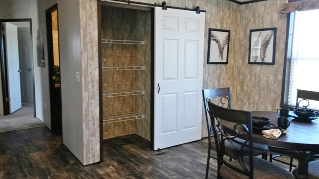 Barn style door in nook