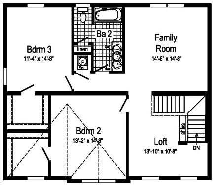 Second floor, you can add 2 more bedrooms.