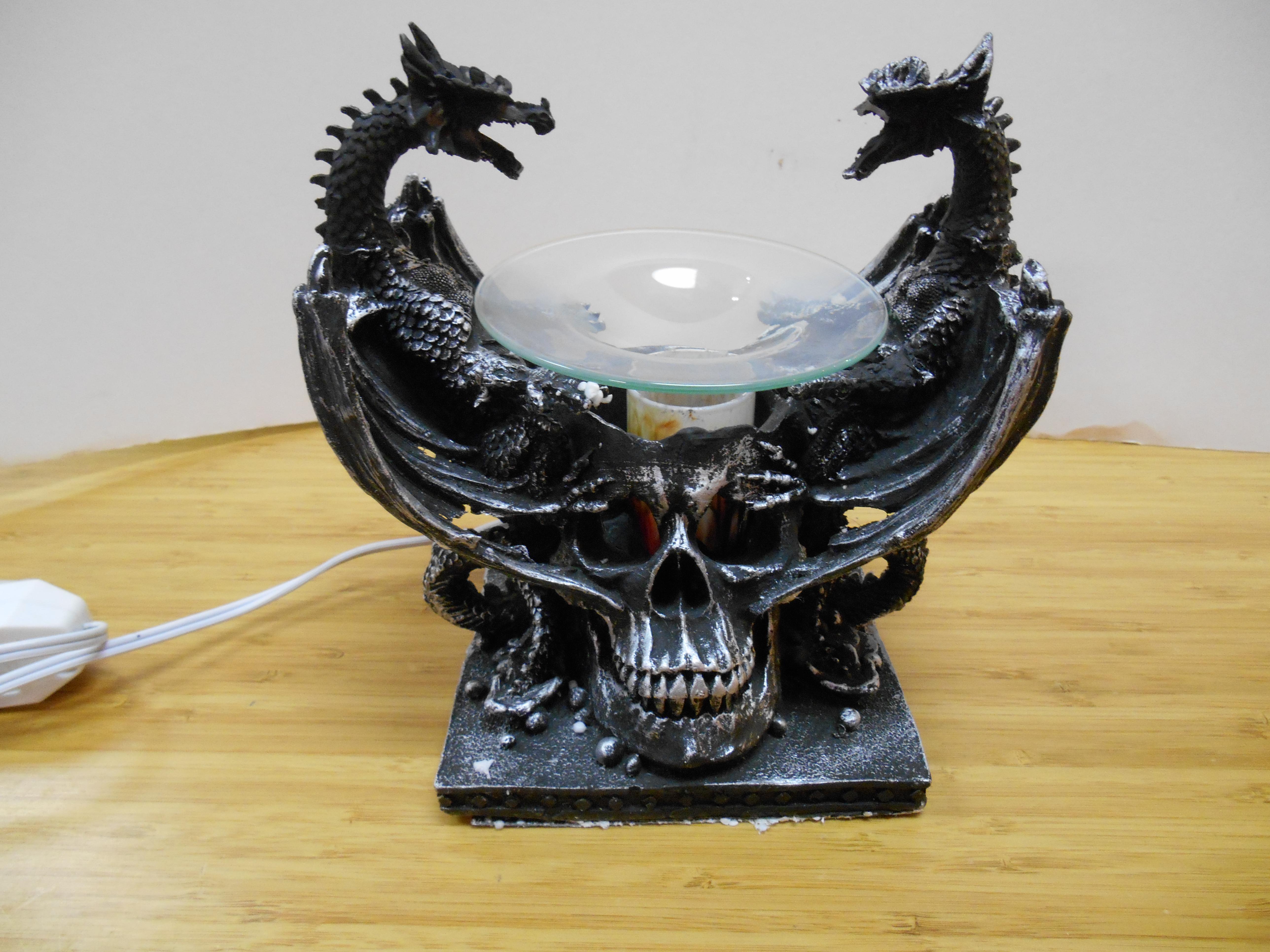Electric Black Double Dragon oil warmer or tart burner, fully detailed