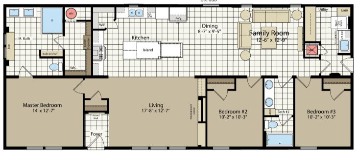 64' Length Floor Plan with Optional Family Room