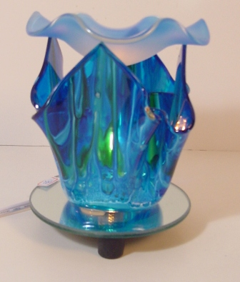 Oil warmer, Electric tart burner, blue ,blown glass, tulip style 703b