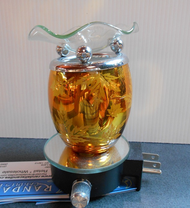 FREE SHIPPING, Oil warmer, night light, Tart burner, maple leaf, oval shape, golden orange