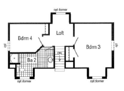 Optional Cape Layout for 2nd floor ,Built on site by others
