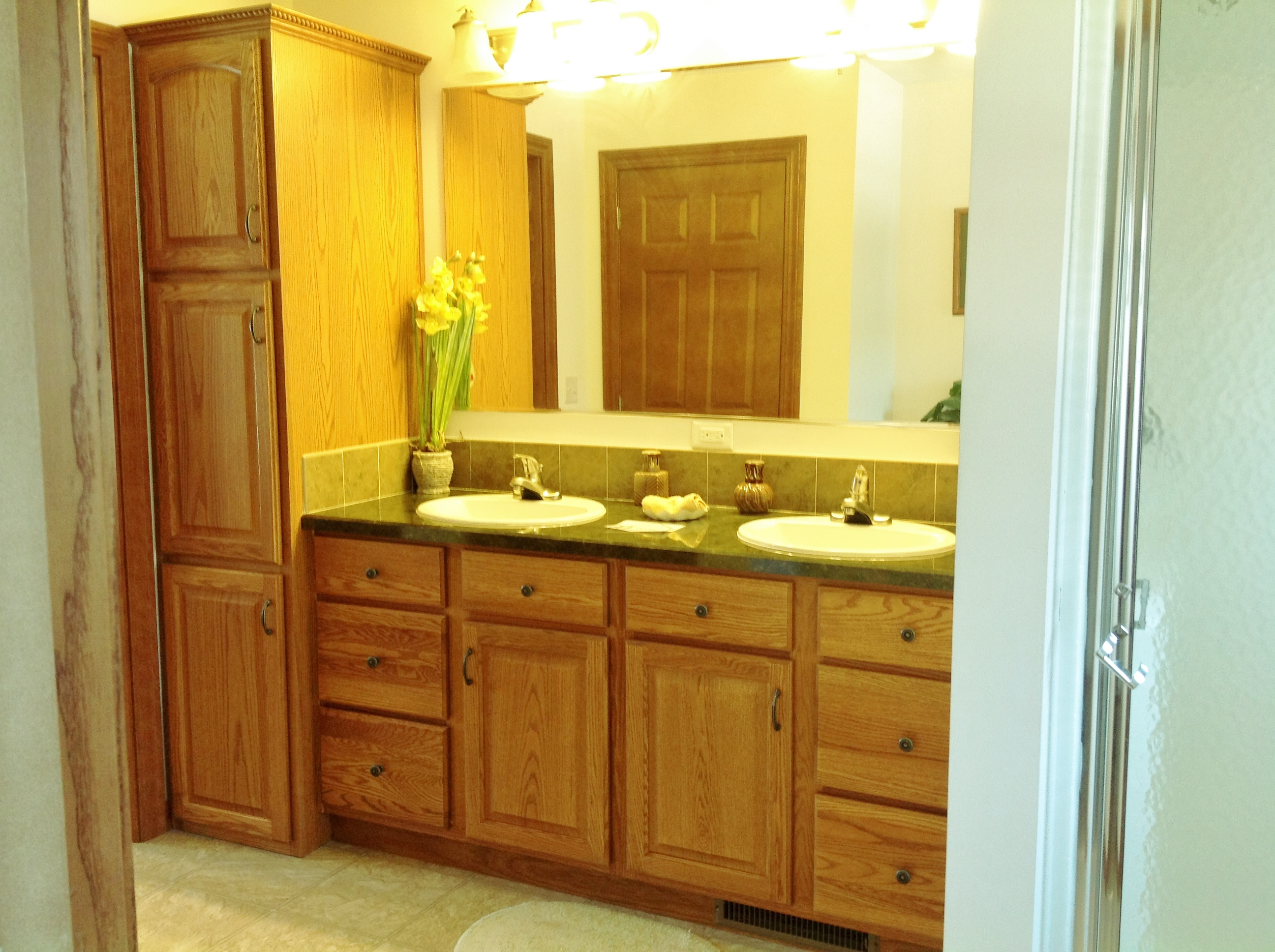 Love the storage in master bath.
