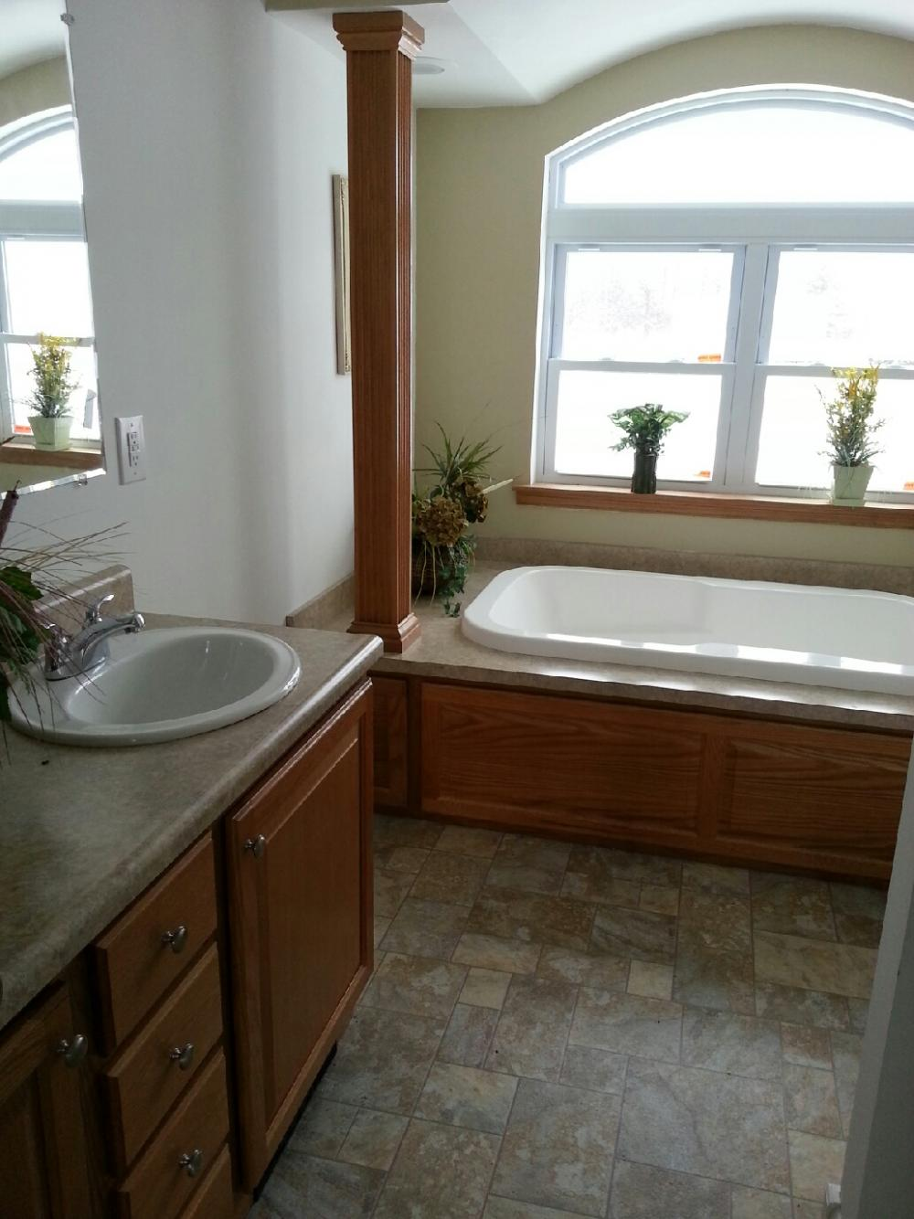 Master Bath has two Sinks, Tub and Walk in Shower.