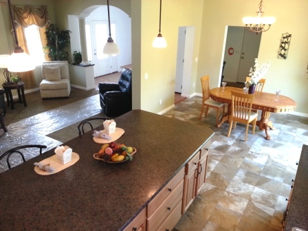 Kitchen and dining, laundry off dining area.