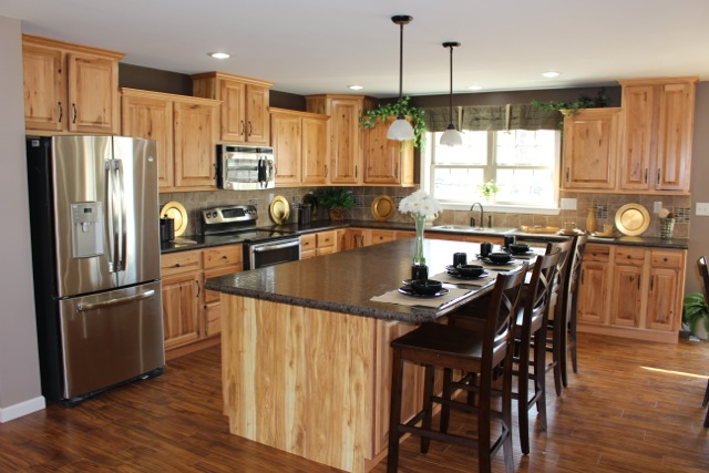 Large kitchen island with plenty of storage.