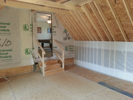 Attic space can be utilized as a bedroom or an office.
