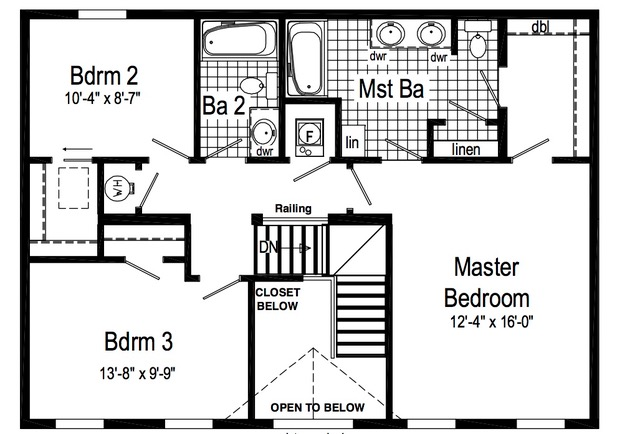 Second floor, standard plan.