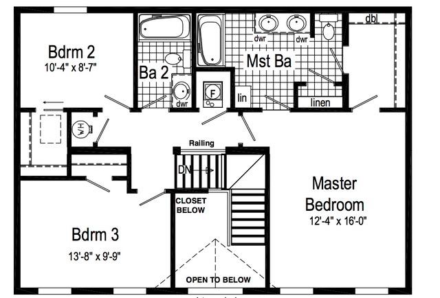 Second floor, standard plan.