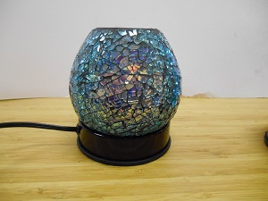 Touch Lamp, FREE SHIPPING, Oil Warmer, blue crackle  glass, FREE SHIPPING