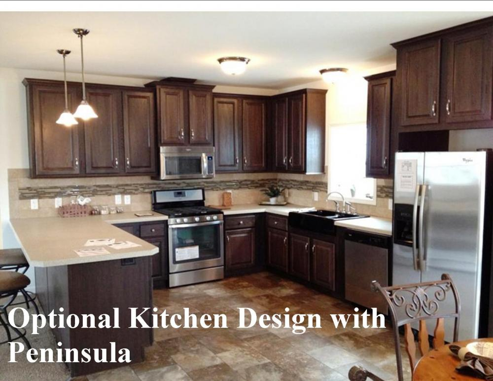 Options for the kitchen include a peninsula.