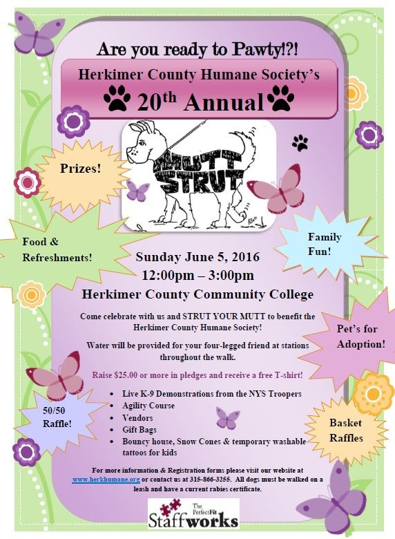 Staffworks 'HERKIMER COUNTY HUMANE SOCIETY 20TH ANNUAL MUTT STRUT