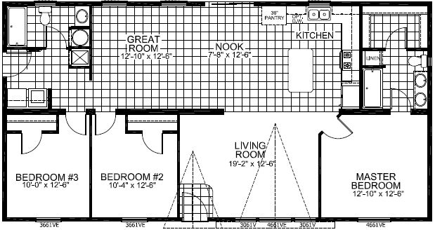 3 bedroom, living room and great room!