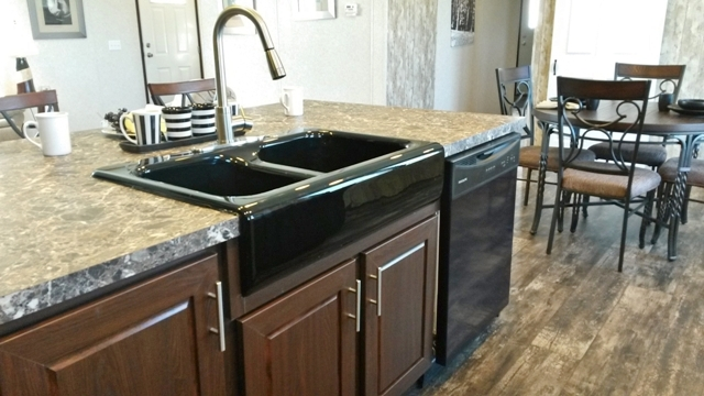 Black farm sink is included in the Prime Series