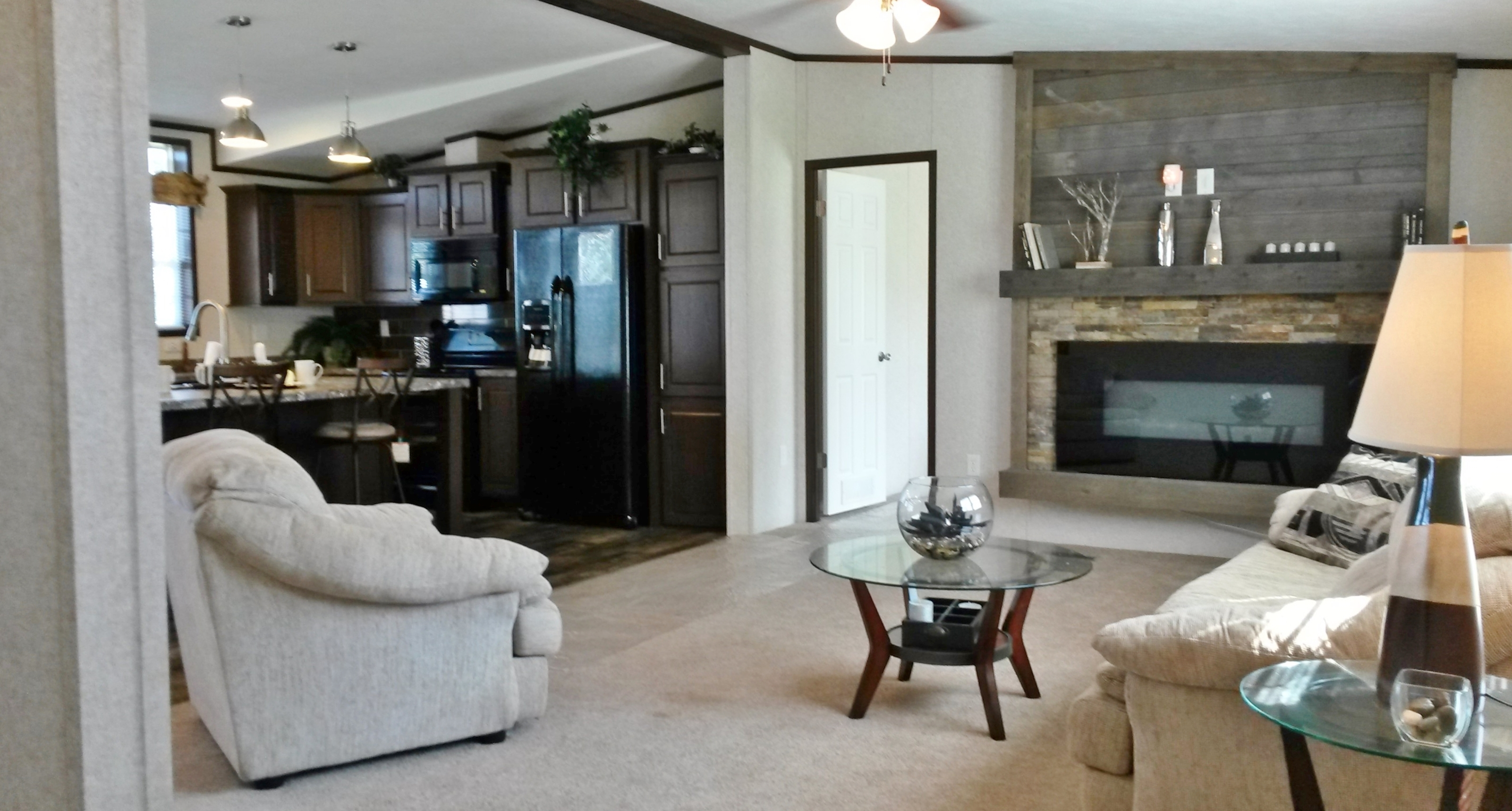 LED fireplace with stone surround