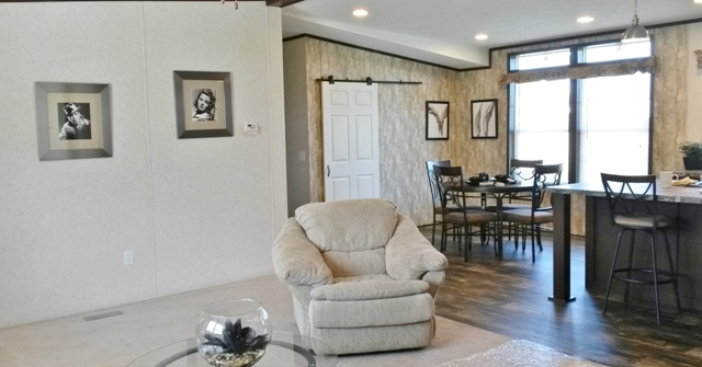 Living room and nook area