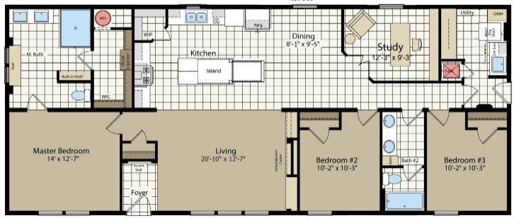 64' Length Floor Plan with Optional Study