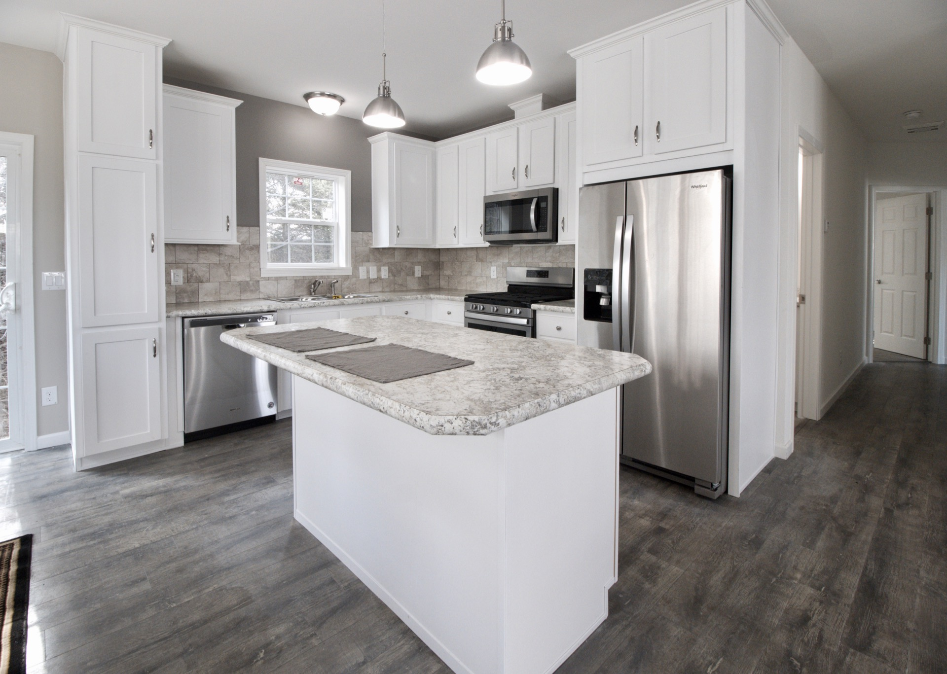 White Cabinets and Optional Island