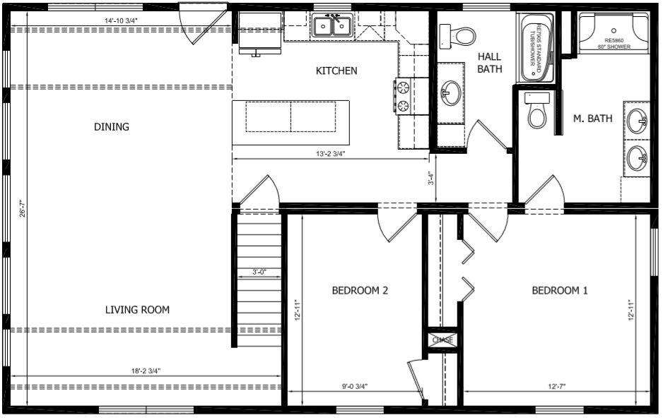Floor Plan with Master Bath IPO Utility Room