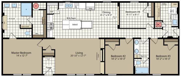 64' Length Floor Plan with Forth Bedroom