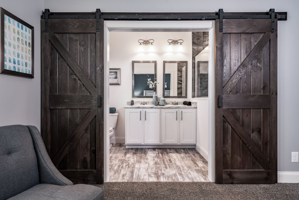 Double Barn Doors Entering Master Bath