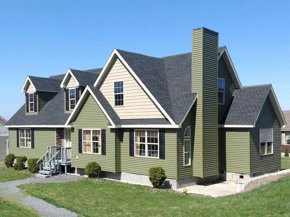 Shown with 12/12 roof pitch and dormers.