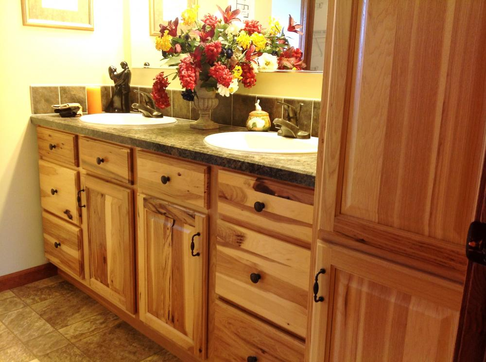 Double Vanity and Linen Hickory