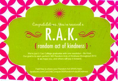 Caz Girls spread Random Acts of Kindness