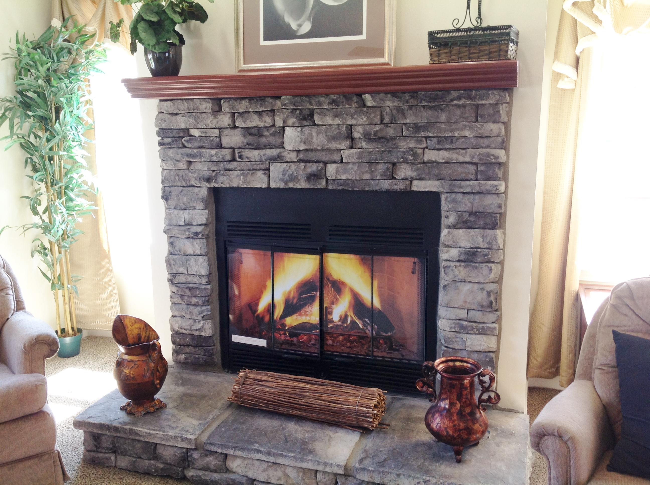 Recessed Windows at Fireplace