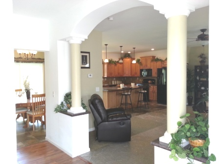 Archway from front door to living room.