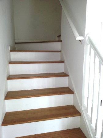Oak stairs or you could carpet.