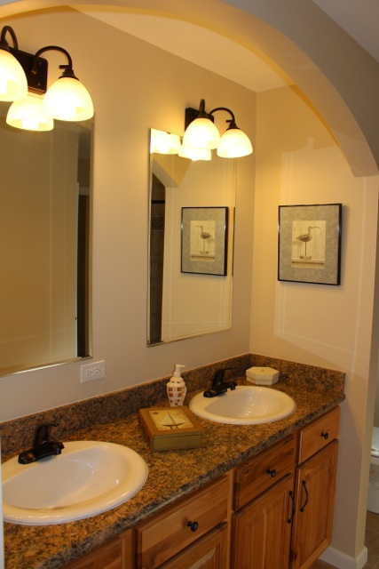 Double bowl sinks in master bath.