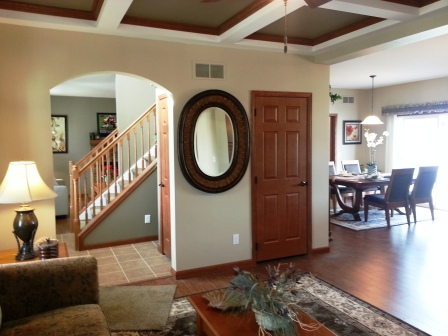 From the family room, foyer is on the right, dining/nook to the left.