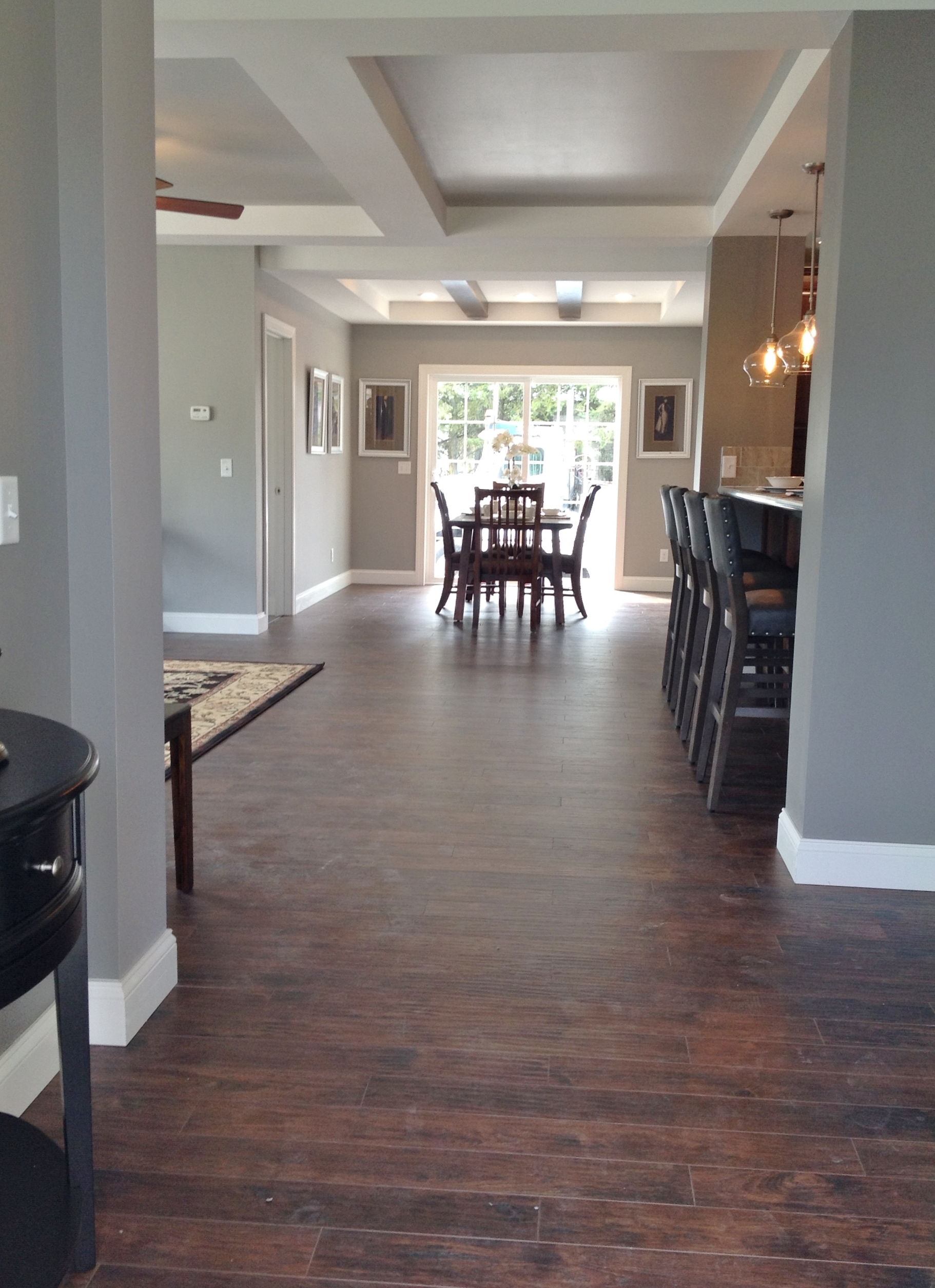 Displayed with laminate floor throughout the living area.